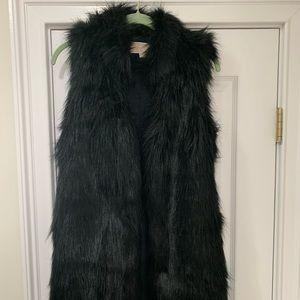 Michael Kors - Black Faux Fur Long Vest